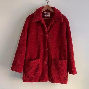 VINTAGE Raspberry Red Teddy Jacket Size Medium